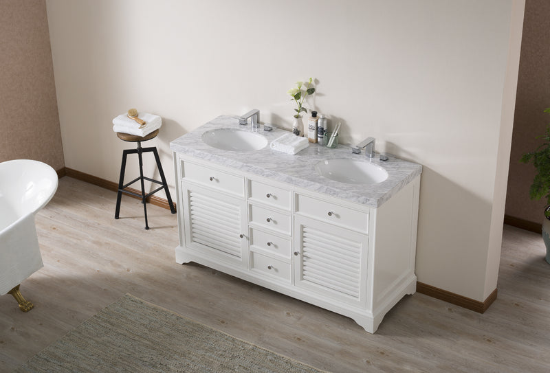 Magnolia 60 Inch White Double Sink Bathroom Vanity with Drains and Faucets in Chrome