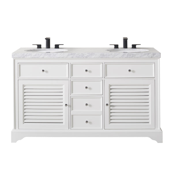 Magnolia 60 Inch White Double Sink Bathroom Vanity with Drains and Faucets in Matte Black