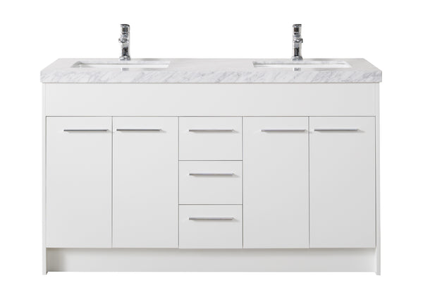 Lotus 60 Inch White Double Sink Bathroom Vanity with Drains and Faucets in Chrome
