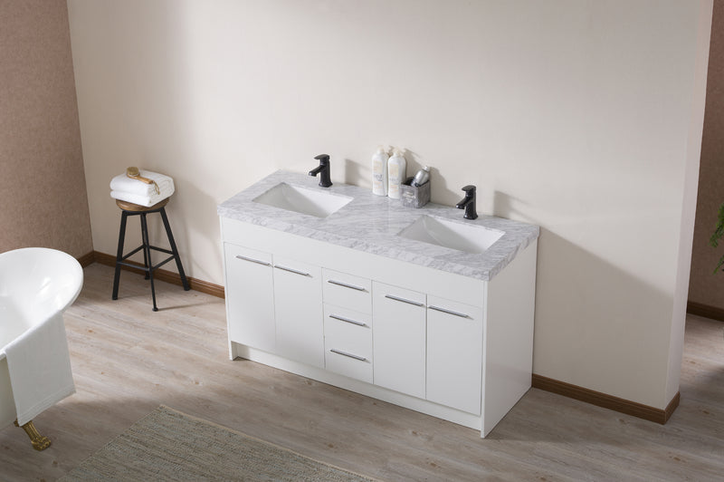 Lotus 60 Inch White Double Sink Bathroom Vanity with Drains and Faucets in Matte Black