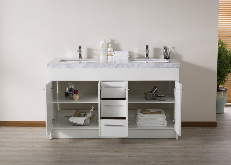 Lotus 60 Inch White Double Sink Bathroom Vanity