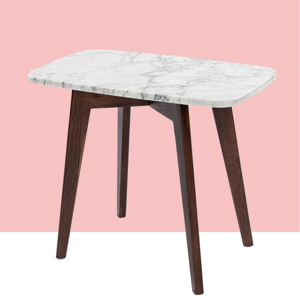 "Cima 12"" White Marble Table-Walnut"