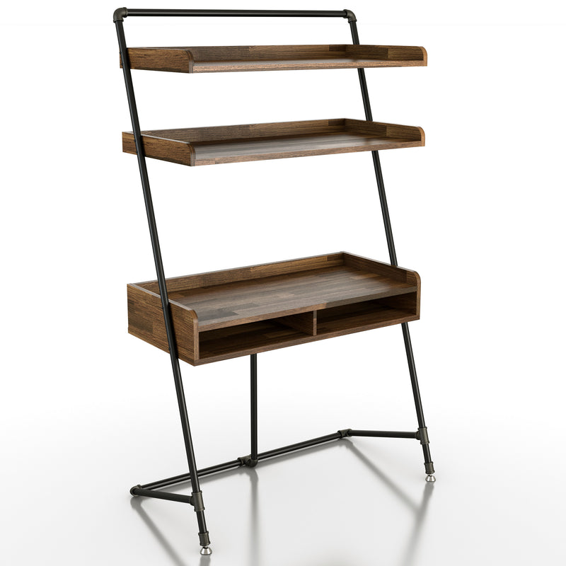 Macry Storage Ladder Desk in Light Hickory/Gray Oak