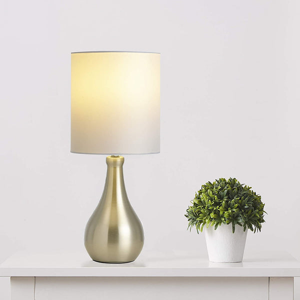 Elora brushed table lamp with white shade