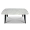 "Prata 36"" Square Italian Carrara White Marble Coffee Table with Metal Legs"