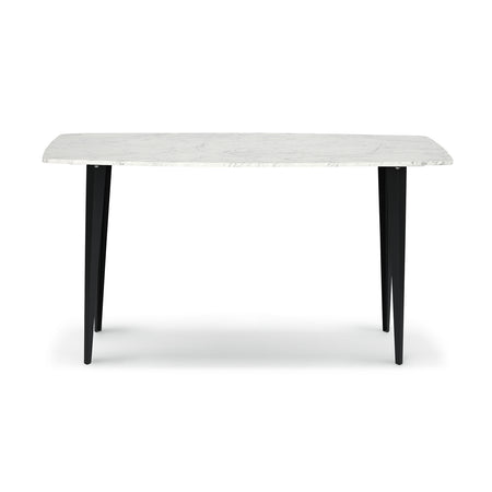 "Campo 53"" Rectangular Italian Carrara White Marble Console Table with Metal Legs"