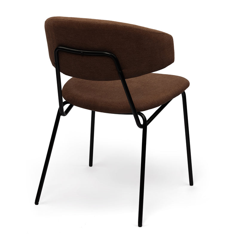 Eartha Modern Dining Chair with Matte Black Metal Legs for Kithchen,Living Room and Dining Room(Set of 2,Brown Upholstered Seat)