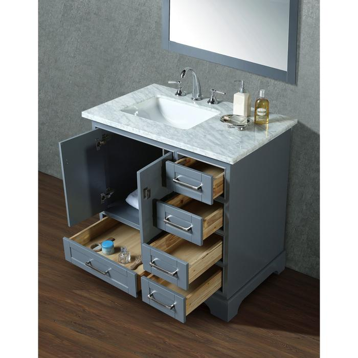 Newport Grey 36 inch Single Sink Bathroom Vanity with Mirror