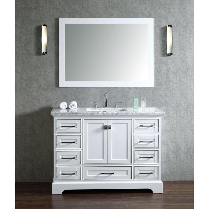 Newport White 48 inch Single Sink Bathroom Vanity with Mirror