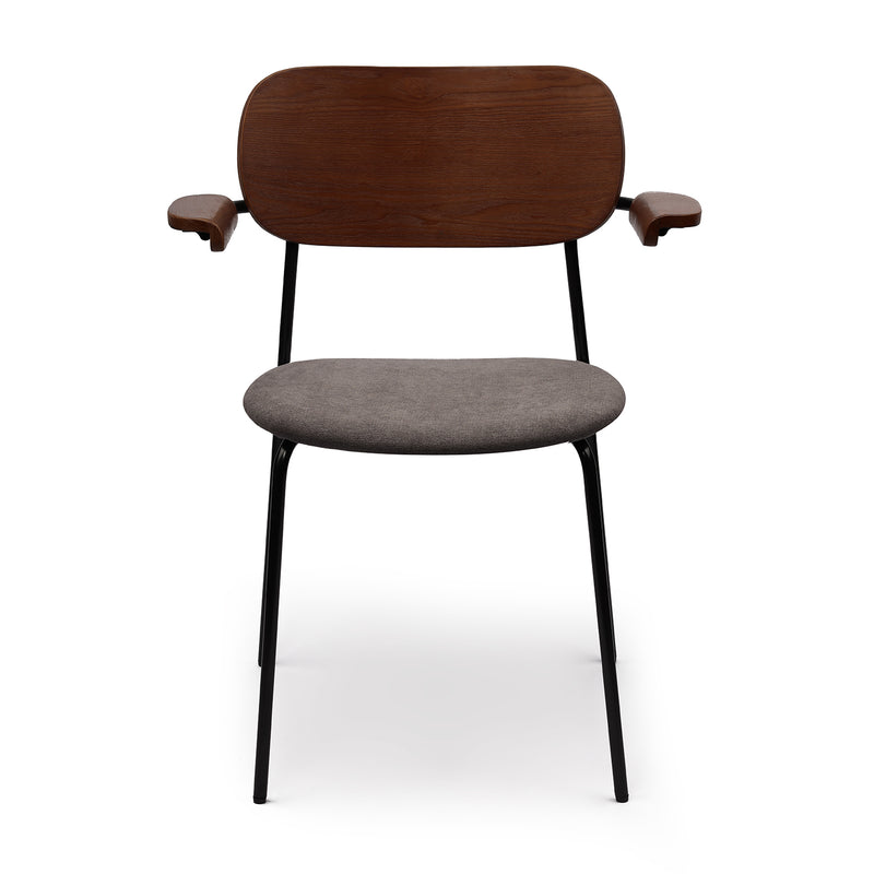 Kyla Modern Dining Chair with Matte Black Metal Legs and Solid Wood Armrests for Kithchen,Living Room and Dining Room(Set of 2,Beige Upholstered Seat)