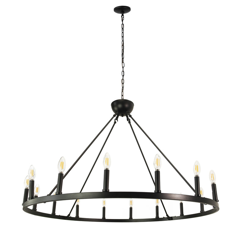 "Ancora 16 Light Chandelier Wagon Wheel (43"" Wide) Matte Black Steel Frame 