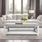 "Agatha 44"" Rectangular Italian Carrara White Marble Coffee Table with solid wood Legs"