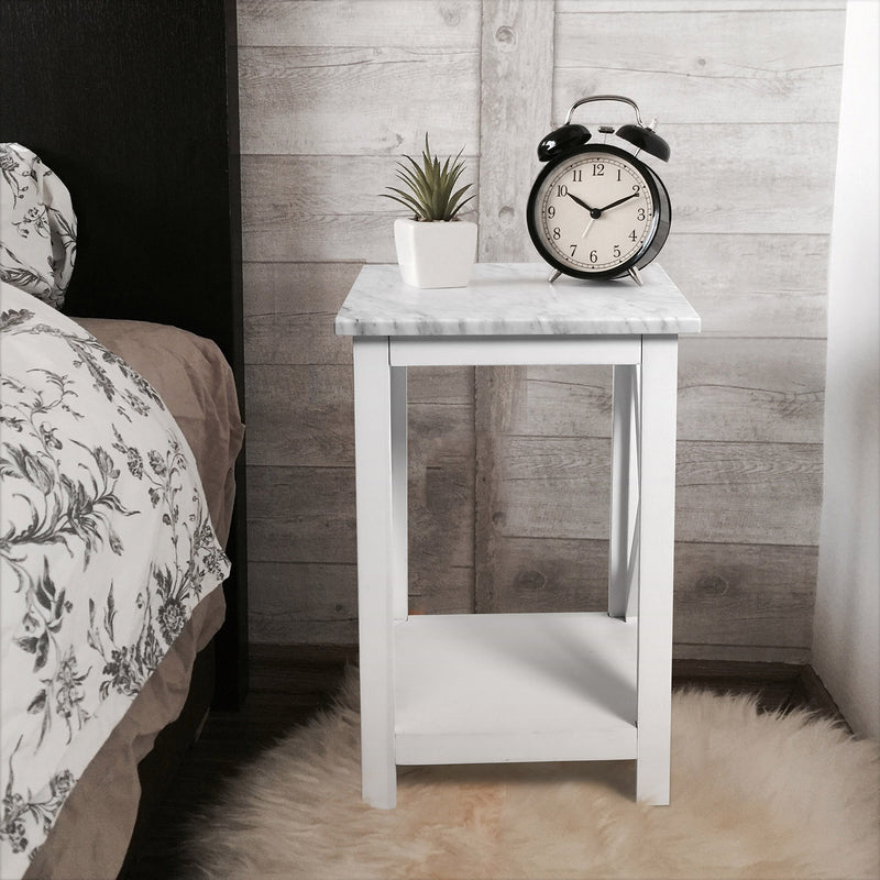 "Agatha 15"" Square Italian Carrara White Marble Side Table with solid wood Legs"