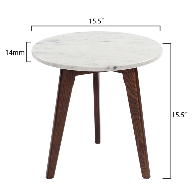 "Cherie 15"" White Marble Table-Walnut"