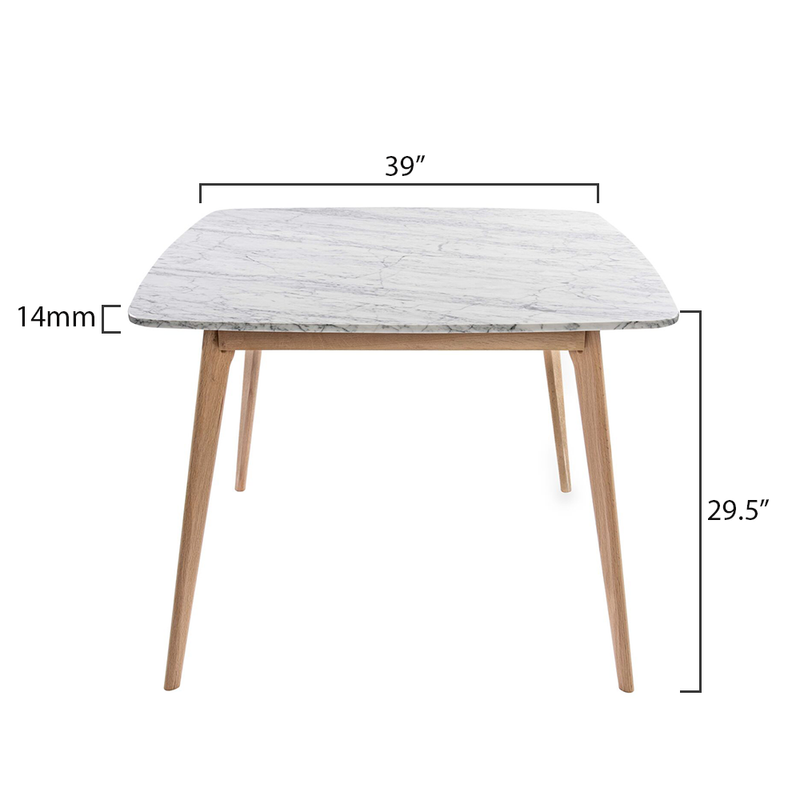 "Senna 39"" Square Italian Carrara White Marble Dining Table with Legs"