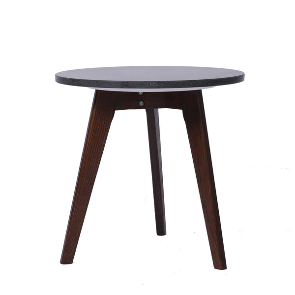 "Cherie 15"" Black Marble Table-Walnut"