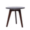 "Cherie 15"" Round Italian Black Marble Side Table with Walnut Legs"