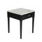 "Alto 18"" Square Italian Carrara White Marble Side Table with Black Leg"