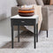 "Alto 18"" Square Italian Carrara White Marble Side Table with Legs"
