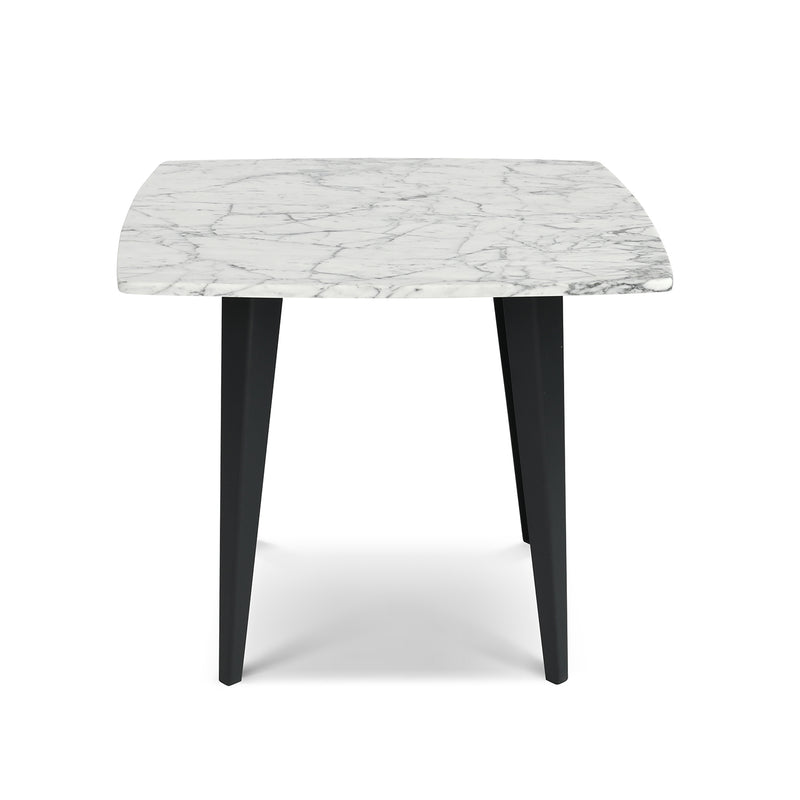 "Soro 24"" Square Italian Carrara White Marble Side Table with Metal Legs"