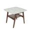 "Cassoro 24"" Square Italian Carrara White Marble Side Table with Walnut Shelf"