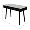 "Viola 44"" Rectangular Italian Carrara White Marble Writing Desk with Black Leg"