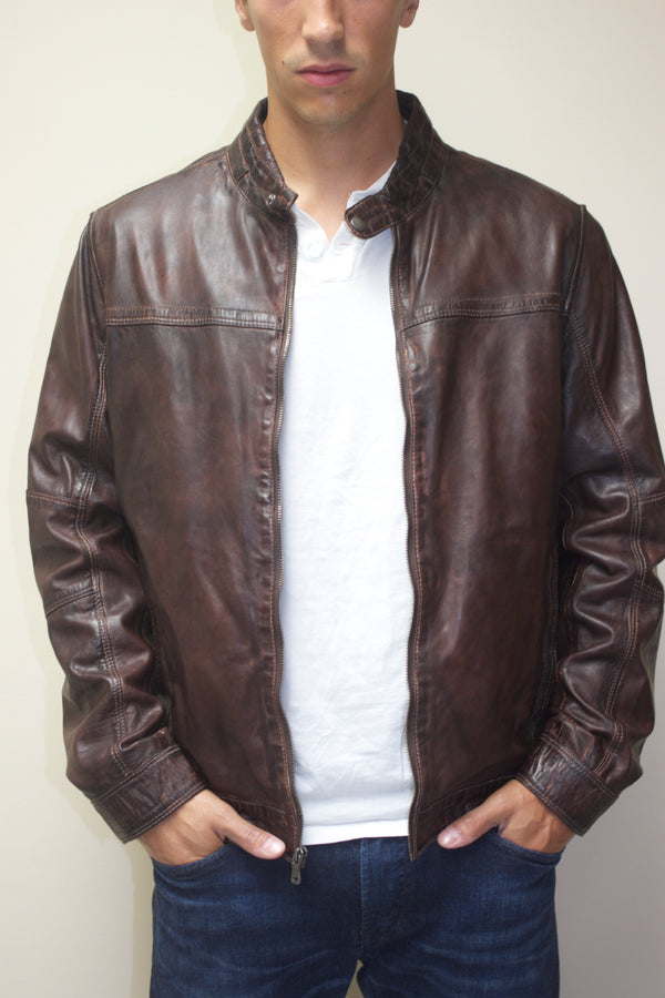 Moto Leather Bomber Jacket
