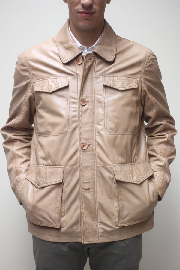 Antique Taupe Naked Lambskin Jacket