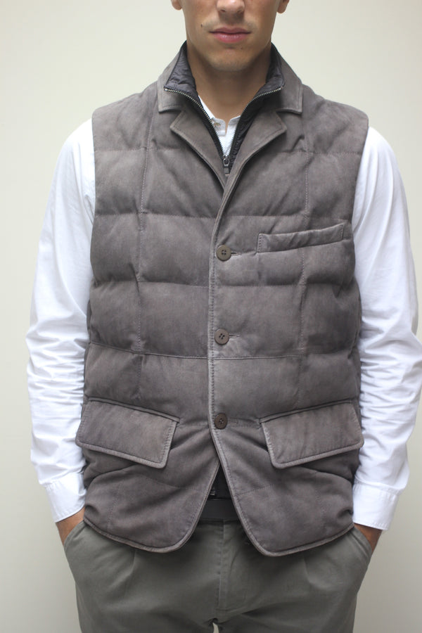 Antique Suede Puffy Vest with Removable Interior Collar