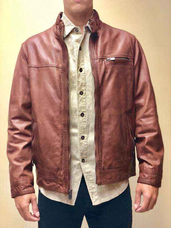Antiqued Lambskin Leather Jacket