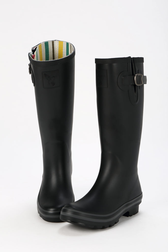 Evercreatures All Black Plain Tall Wellies