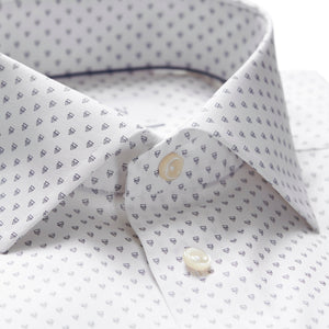 2702 White Poplin with Navy Print Arrow