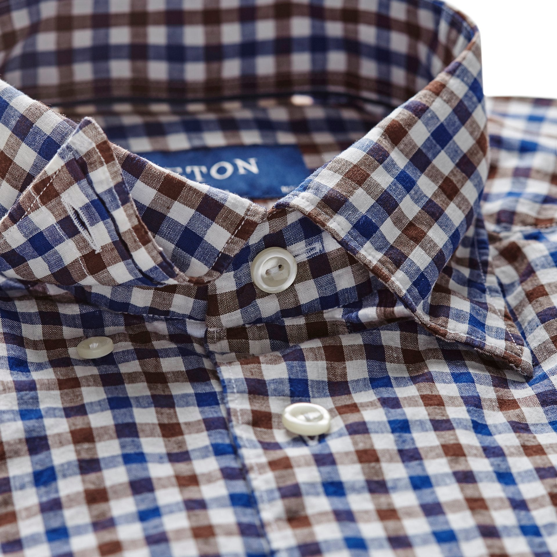 Blue and Brown Check Popover Shirt