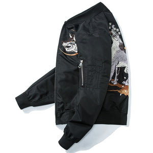 Bomber broderie pour homme moon wolf