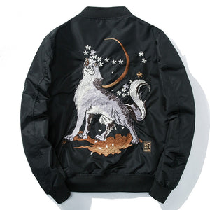 Bomber brodé pour homme moon wolf