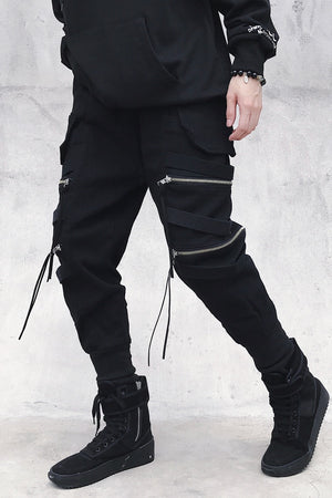 Pantalon streetwear noir coupe skinny - Crash