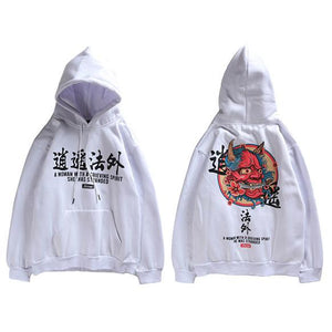 demon Ordiaux vêtement japonais japon streetwear blanc capuche pull sweat