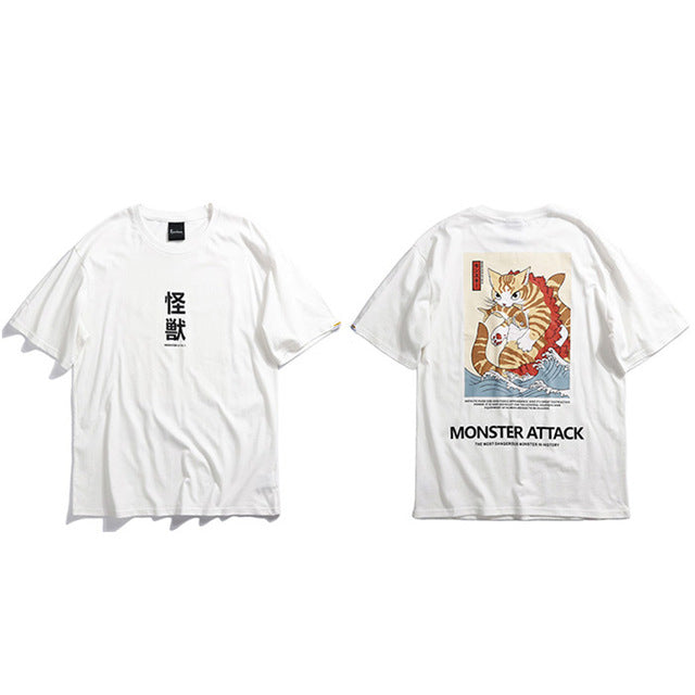 tshirt japonais monster attack blanc