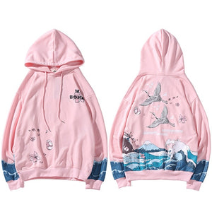 Sweat a capuche japonais fuji rose