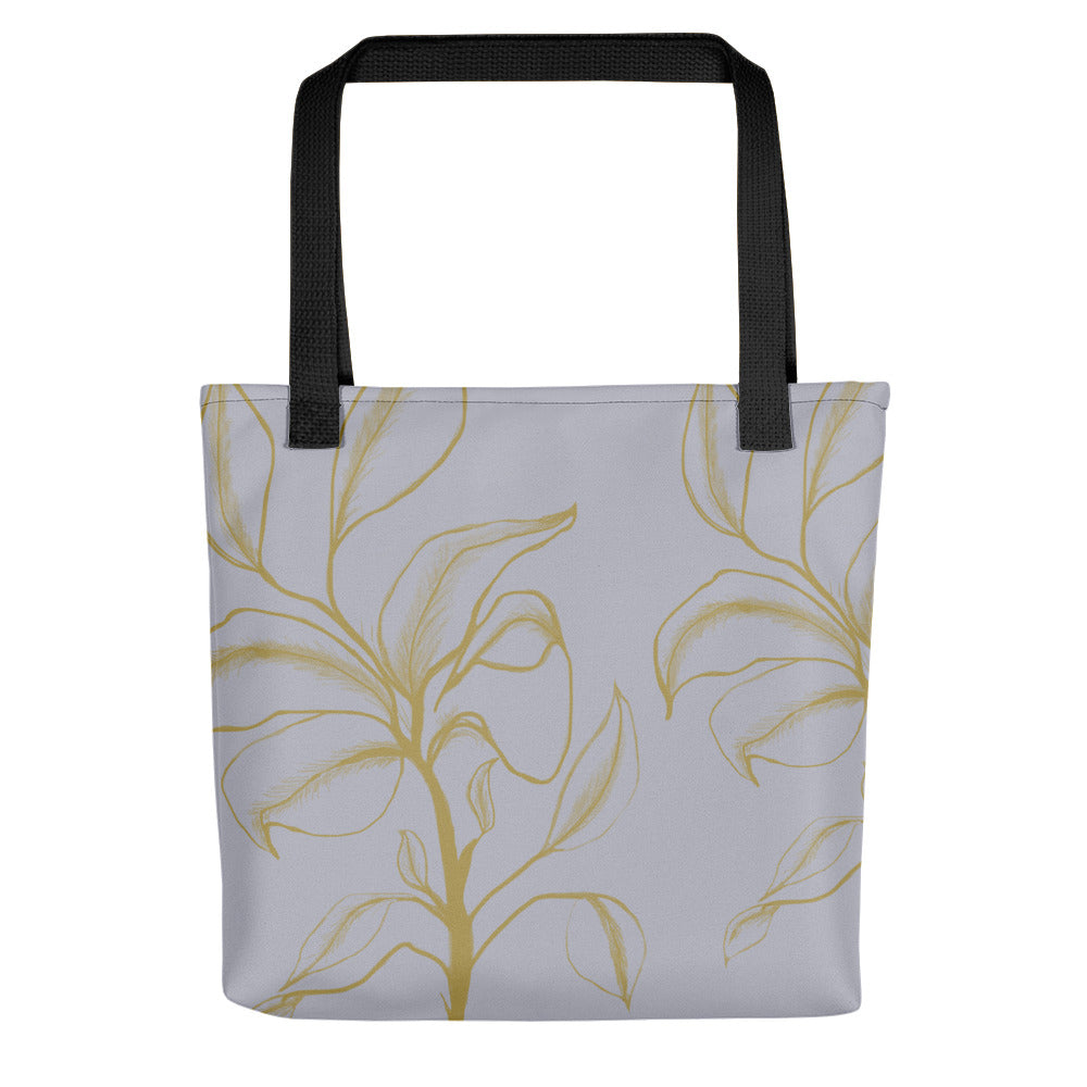 Golden Flower on Grey Tote Bag