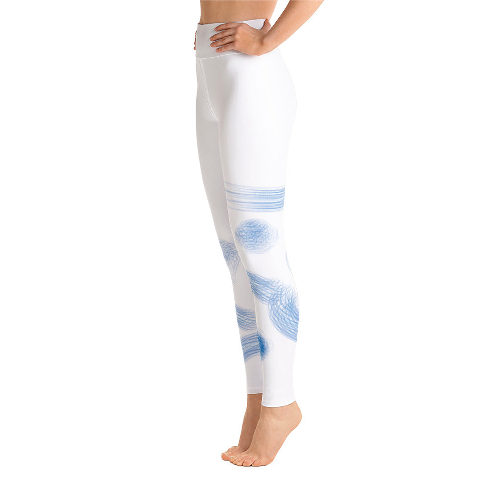 Blue Abstract Art on White Yoga Leggings