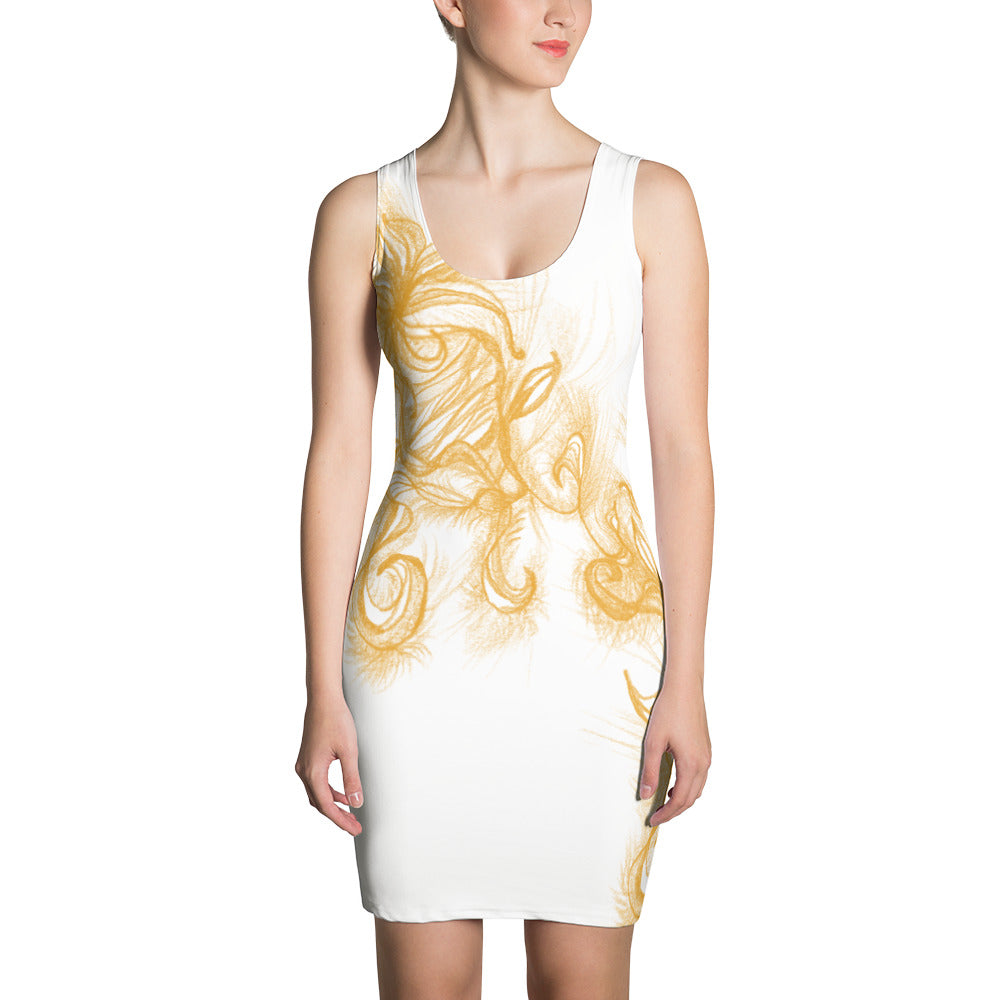 Golden Psychedelic on White Dress
