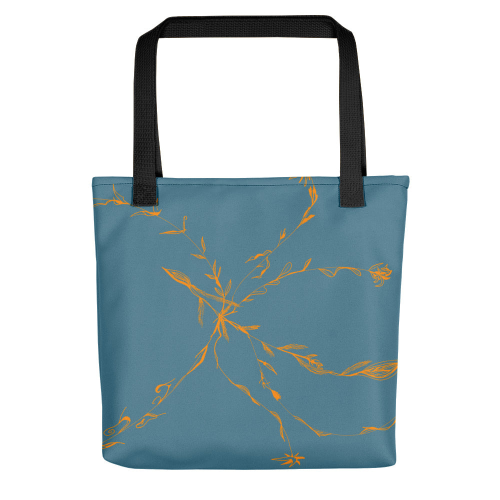 Orange & Blue Flowers Tote Bag