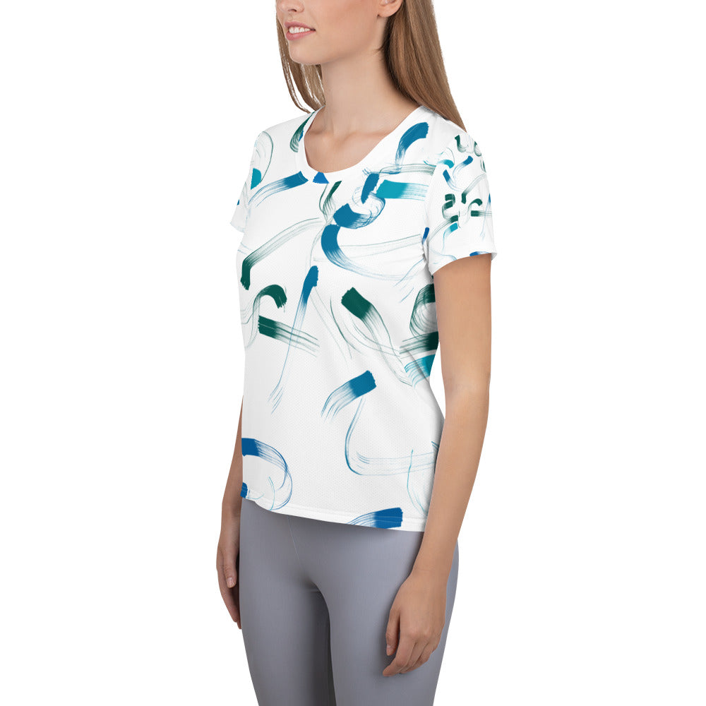 Blues & Greens All-Over Athletic T-shirt