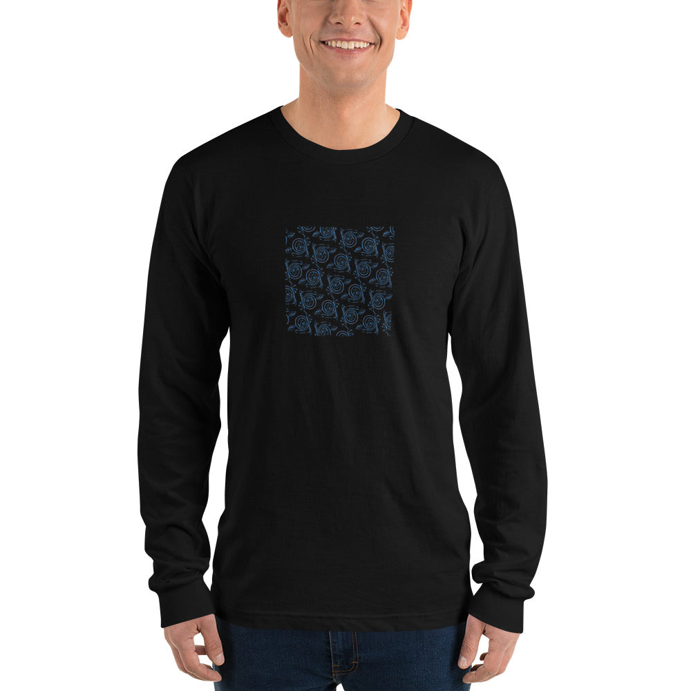 Blue Spirals Long Sleeve T-Shirt - Black & Asphalt