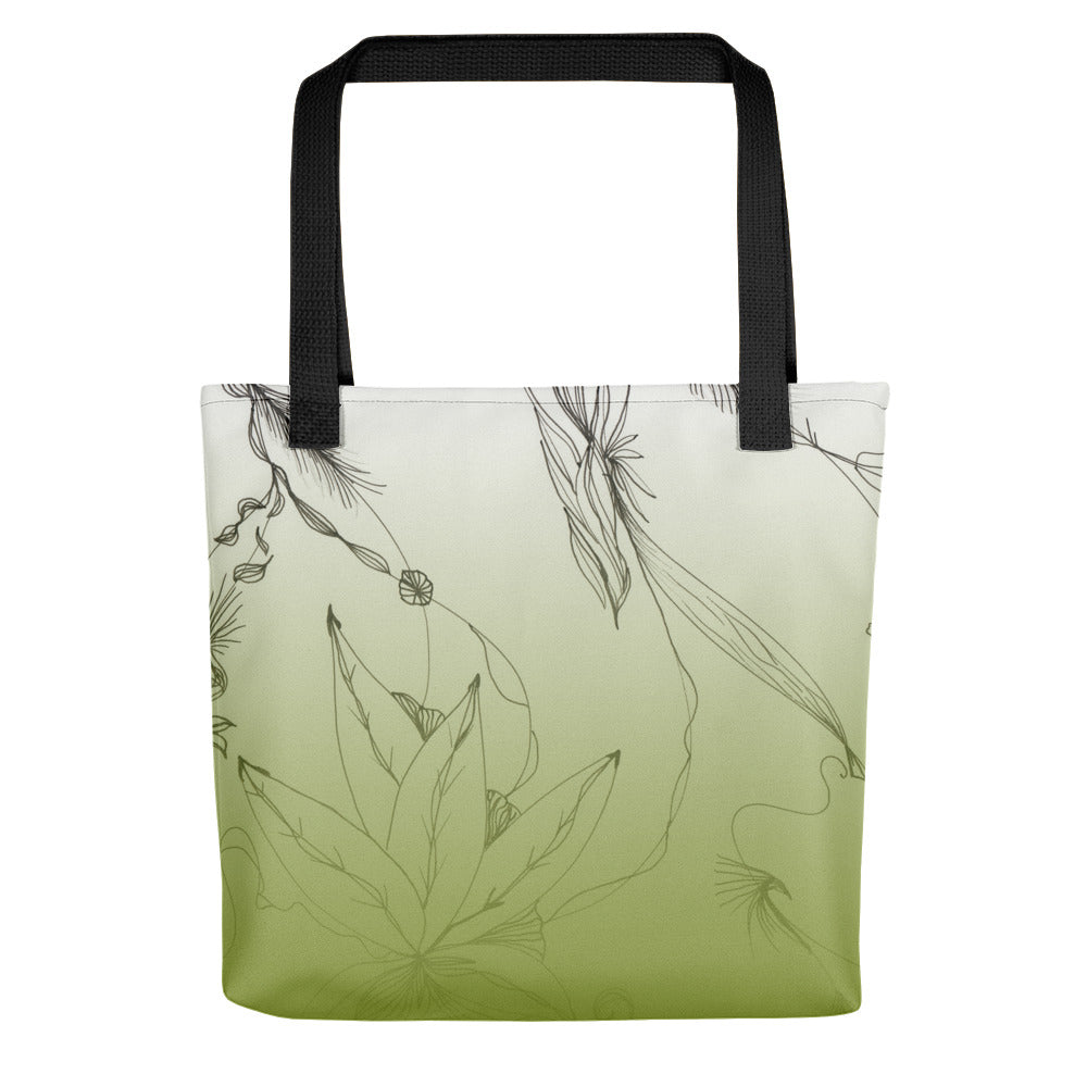 Green Floral Art Tote bag