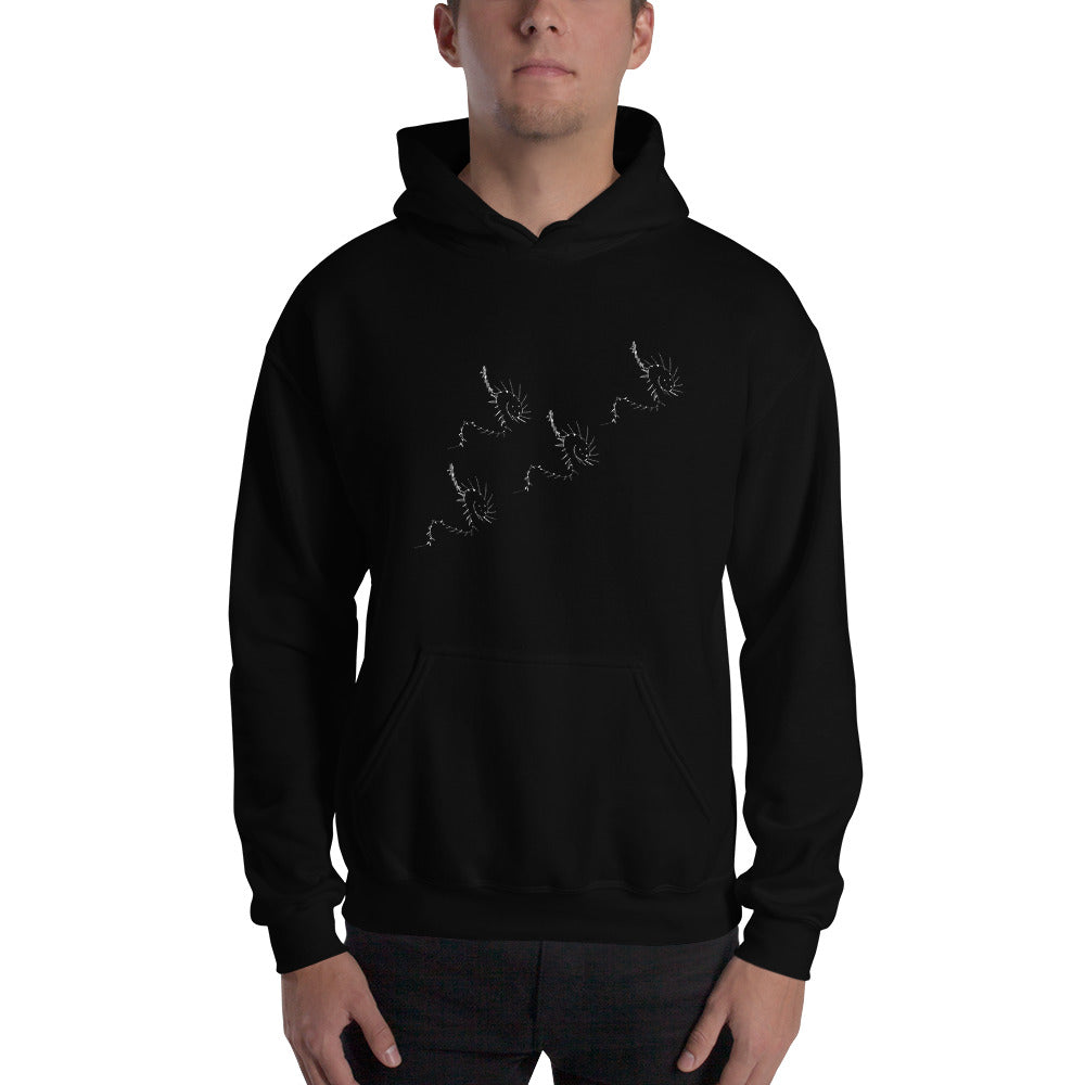 White Dragon Patterns on Hooded Sweatshirt