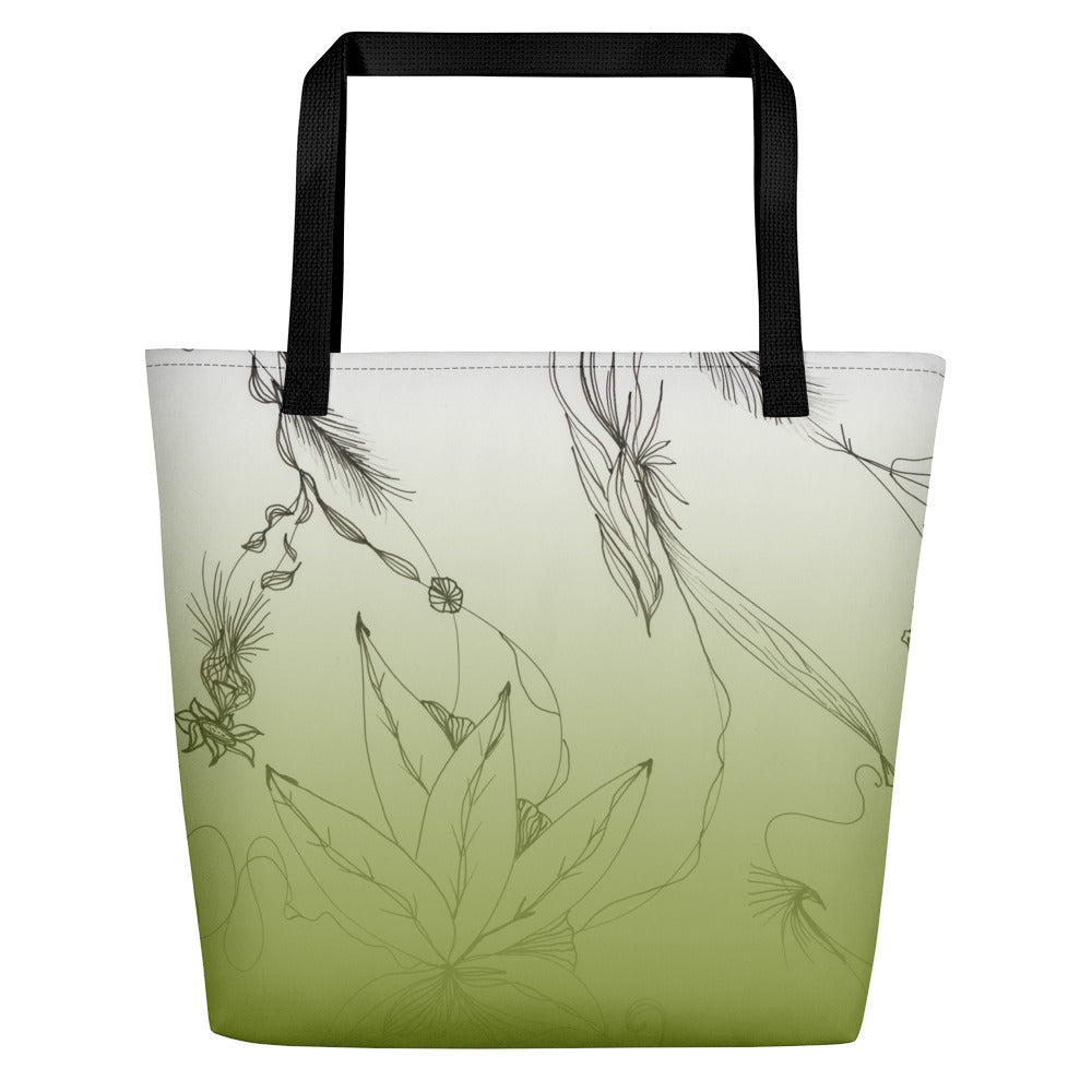 Green Floral Art Big Tote Bag