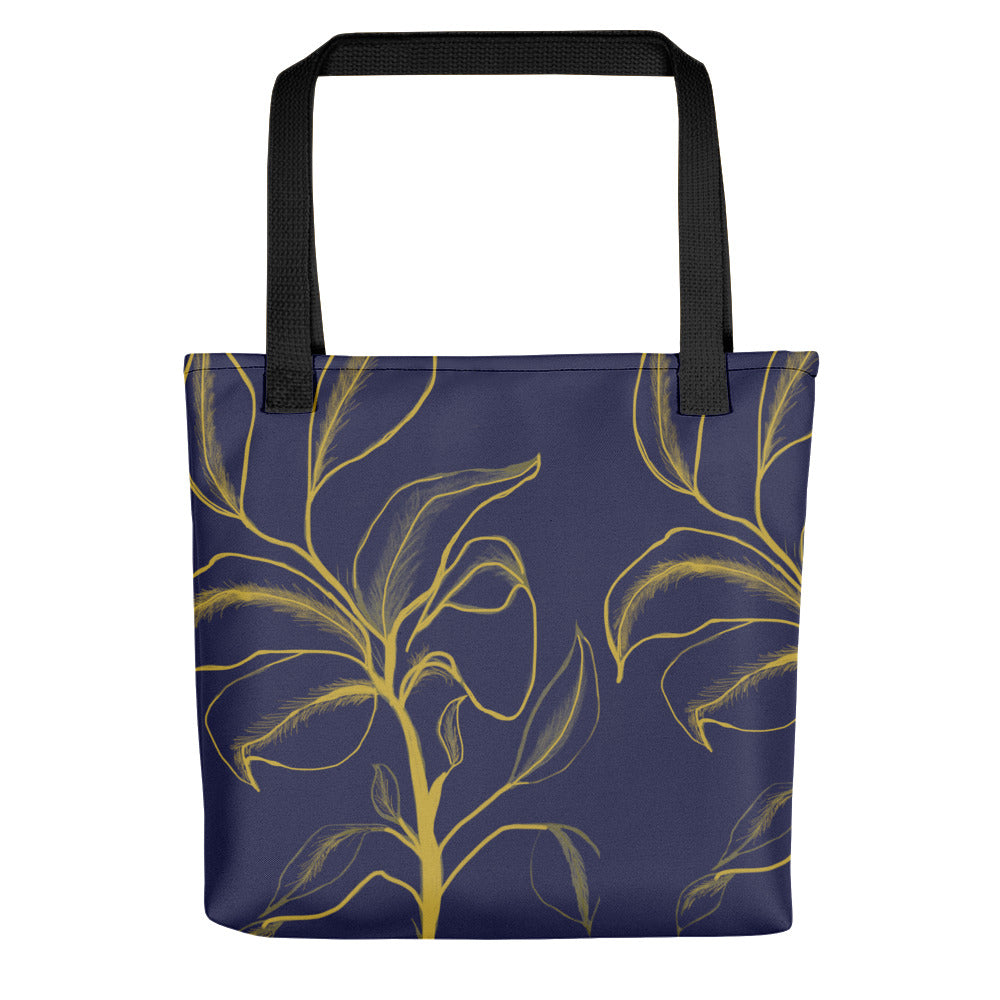 Golden Flower on Navy Blue Tote Bag