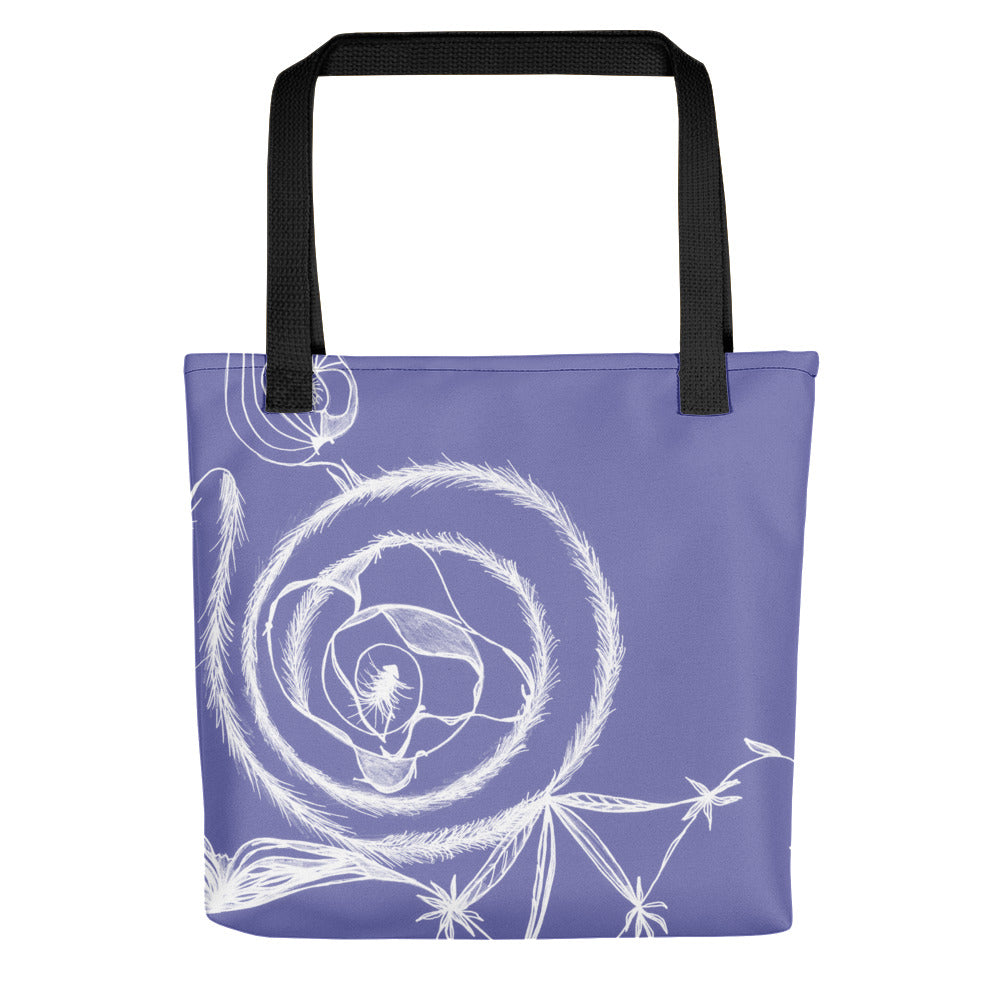 White Spiral on Purple Tote Bag